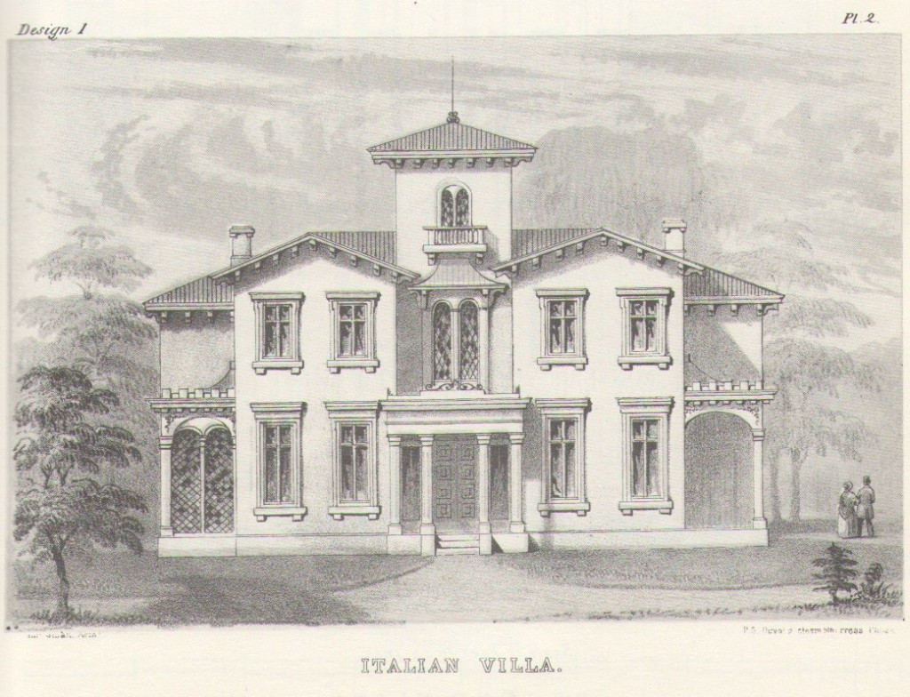 An Italian villa by Samuel Sloan. The facade, particularly the gables on either side and the elongated Palladian window above the entrance, are reminiscent of the Hohenadel House.