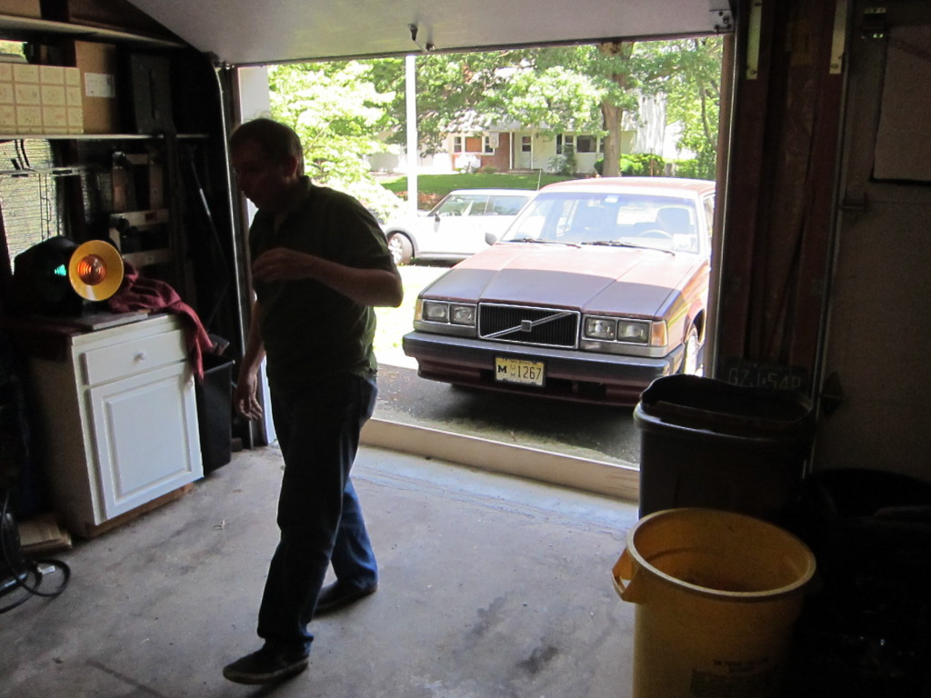 """Tom deplys wooden board at the mouth of the garage to deter four-legged """"visitors."""""""