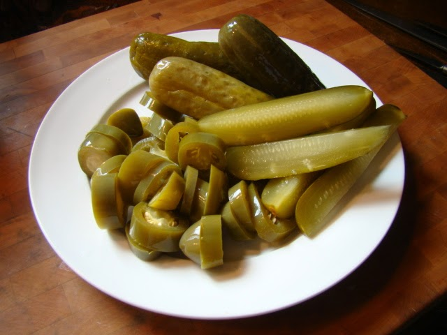 Lou's pickles and jalapenos