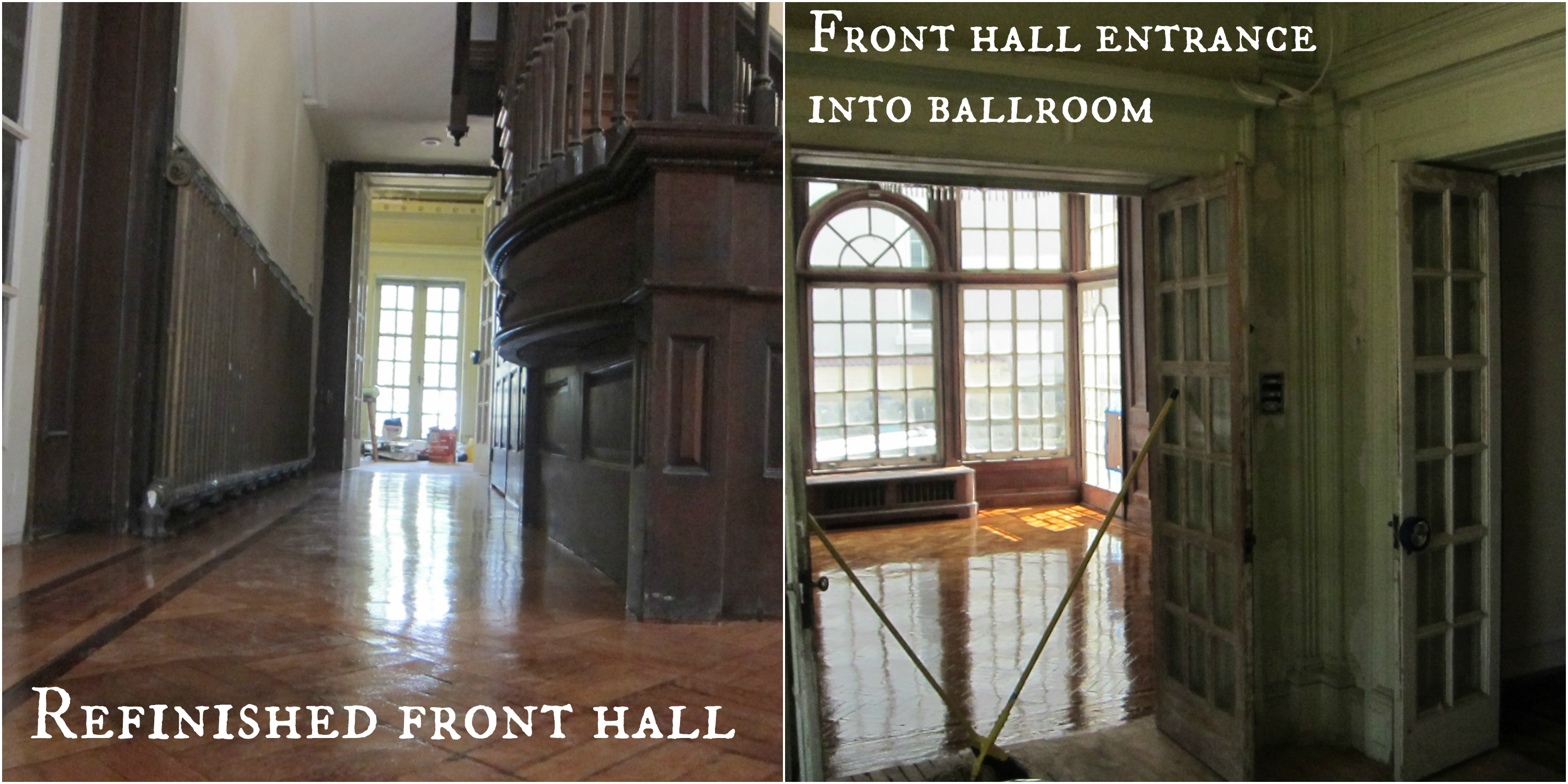 collage front hall and ballroom view text