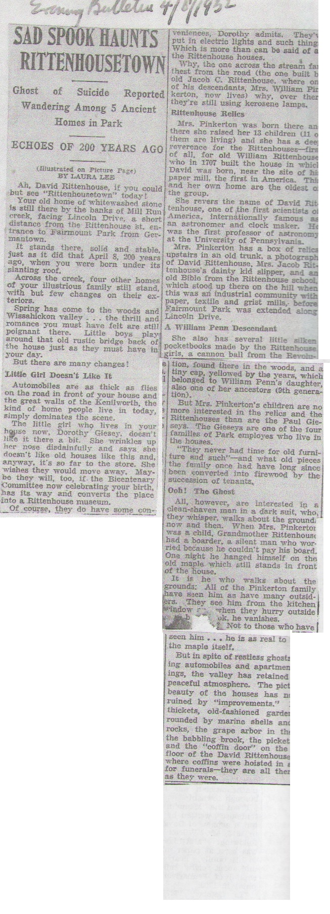 Chadwick Spooks Haunt Rittenhouse Town Evening Bulletin 4-8-1932