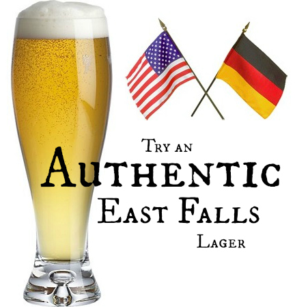 lager in a tall glass with flags TRY EF LAGER